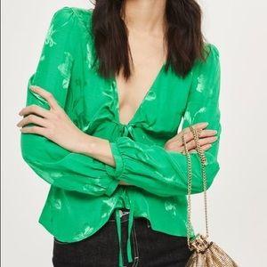 Topshop Green Tie Front Blouse Top